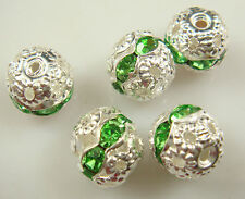 8mm 5pcs Czech GREEN Crystal Rhinestone Silver Rondelle Spacer Beads xd9e