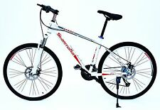 "BICICLETTA alluminio 26"" Unisex Mountain Bike 27-gang con freni a disco Bike Bianco"
