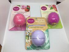 EOS Three Pack Lip Balm, Strawberry Peach, Honey Apple, Chamomile Made in USA