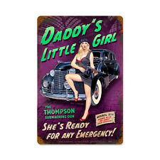 Daddy's Little Girl Gangster Moll Pin Up Pinup Girl Tin Metal Steel Sign 12x18