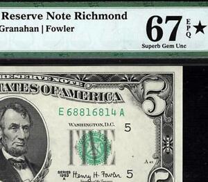 1963a $5 Richmond Federal Reserve FRN • 1968-E • PMG 67 EPQ • *Star Designation