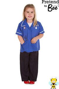 GIRLS KIDS CHILDRENS CHILDS NURSE NURSES TUNIC UNIFORM OUTFIT COSTUME AGE 3-5-7