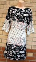 WALLIS BLACK WHITE SPOTTED PINK FLORAL 3/4 SLEEVE SHIFT TUNIC COCKTAIL DRESS 14
