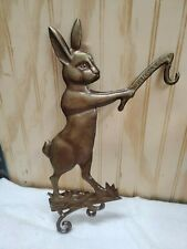 """Heavy Metal Garden """"Welcome"""" Bunny Rabbit Figure - Double Sided - 15 in tall"""