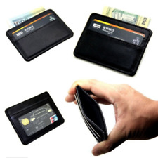 Mens Cowhide Leather Wallet Front Pocket RFID Blocking Slim Mini Card Holder Bag