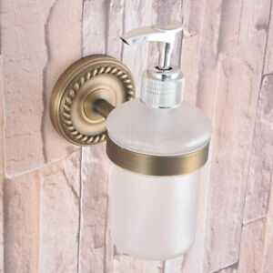 Antique Brass Wall Mounted Soap Dispenser Liquid Hand Wash Bathroom Kitchen