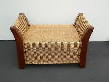Vintage Tiki Palm Beach Style Wicker & Wood Bench