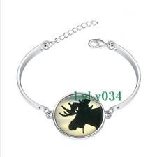 Moose Silhouette glass cabochon Tibet silver bangle bracelets wholesale