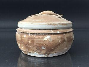 TEK SING Chinesische Porzellan karallierte Deckel-Dose braun lasiert um 1820