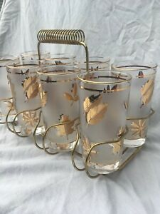 Vintage 1950s Libbey Golden Foliage Frosted Drinking Glasses set 8 with Carrier