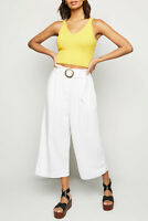 New Look White Linen Cropped Wide Leg Trousers Sizes 6 to 16