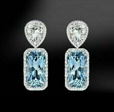 6.66Ct Aquamarine & Round Diamond Drop Dangle Earrings in 18K White Gold Over