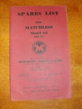 1959 AMC MATCHLESS MOTORCYCLES 250CC Model G2 SPARES LIST BOOKLET w/ Poster