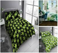 Luxuries WEED LEAF Printed Reversable Duvet Cover+Pillow Case Bedding Set Gc