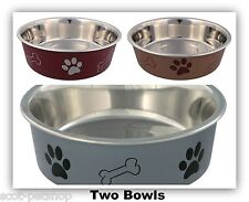 Set Of 2 Stainless Steel Dog Bowls - Choice Of Size & Colour