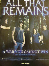 All That Remains, A War You Cannot Win, Full Page Promotional Ad
