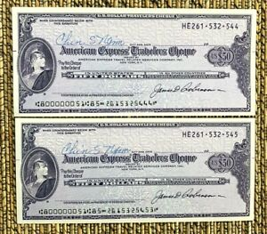 Vintage American Express Travelers Cheques 50 U.S.Dollars / NOT SPECIMEN, XF