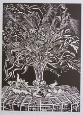 GRANDE LITHOGRAPHIE ORIGINALE-BOUQUET FLEURS SECHEES-MALCLES MASEREEL-SIGNEE-70