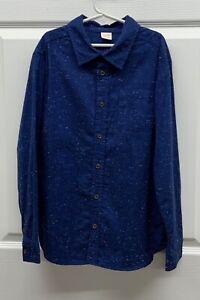 EUC Boys Gymboree Navy Blue Speckled Button-up Dress Shirt Top, LARGE (10-12)