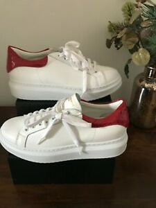 Russell&Bromley PRIZE M Lace-Up Flatform Sneaker.White.Size UK 5