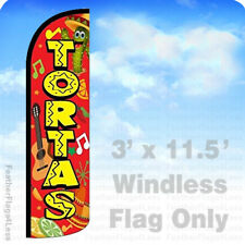 TORTAS - Windless Swooper Flag Feather Banner Sign 3'x11.5' rq