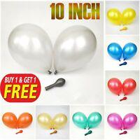"6-50 pcs 10"" Metallic Pearl Chrome Latex Balloons for Wedding Birthday Party UK"