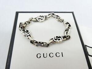 Auth GUCCI GG Logo Bracelet Silver Metal - AUC0255