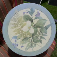 """Once Upon a Rose Collection 14"""" Round Hat Box Martha Negley White Floral Design"""