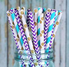 Charmed Mermaid theme Purple, blue and teal paper straw in polka dot, chevron,