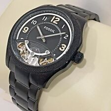 FOSSIL ME1151 FOREMAN BLACK METAL STAINLESS STEEL CASE BRACELET AUTOMATIC RARE