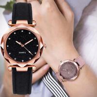 Women Ladies PU Leather Rhinestone Analog Quartz Wrist Watches Bracelet Gift