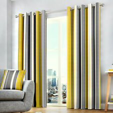 Whitworth Stripe Ochre Eyelet Ring Top Curtains. 100% Cotton. Choice of Sizes