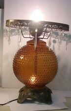 New listing 1970 EF Industries  AMBER HOBNAIL Hurricane GWTW Lamp Base with crystals 3 way