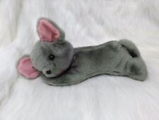 """13"""" Vintage Gray Laying Mouse Pink Ears Stuffed Animal Toy B201"""