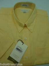 NEW Cutter & Buck Men's Yellow Button Down Wrinkle Resistant SS Shirt Size L