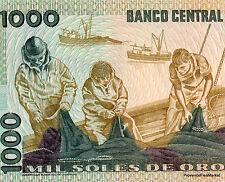 Perù banconota nove di 1000 SUOLE DI ORO Pick122 BARCA PESCATORI NELLA RETI 1981