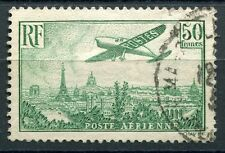 TIMBRE FRANCE PA POSTE AERIENNE N° 14  OBL AVION SURVOLANT PARIS