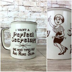 Vintage Mid Century Sexist Mug Perfect Secretary Runs Slow Ceramic Coffee Cup
