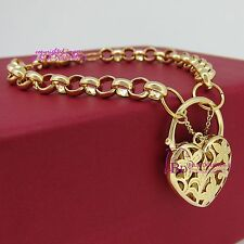 Genuine Solid 18k Yellow Gold GF Rings Chain Heart Clasp Padlock Bracelet Bangle