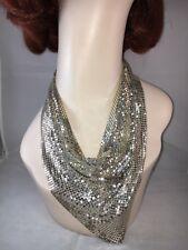 Beautiful Vintage Signed Whiting Davis Silver Tone Mesh Collar Bib Necklace