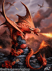 ANNE STOKES ART FIRE DRAGON - 3D FANTASY PICTURE PRINT LARGE 300mm x 400mm