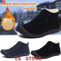 Women Winter Warm Fur-lined Ankle Snow Boots Slip On Shoes Waterproof size 5-8.5