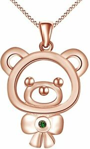 Round Simulated Emerald Teddy Bear Pendant Necklace14K Gold Over Silver
