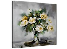 Mustard Yellow Grey Flowers Painting Bathroom Canvas - Abstract 1s443s - 49cm