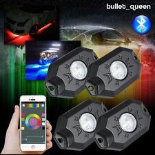 4 Pods RGB LED Rock Lights Wireless Bluetooth for Jeep Off Road Trucks 4x4 ATV