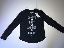 Abercrombie Kids Long Sleeve Sleep Lounge Tee Navy Donuts Dogs Cocoa Sz 9/10 NWT