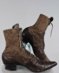 MOST UNUSUAL VICTORIAN WOMEN'S PATTERNED COTTON AND LEATHER WITCHPOINT SHOES