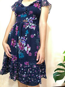 MANGO Suit Floral Dark Blue Silk Dress USA 8  Medium