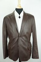 Bottega Veneta Brown Supple Leather Silk Cotton Lining Jacket Sz 54 Made Italy