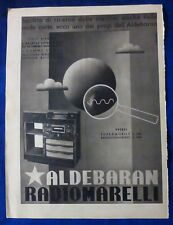 PUBBLICITA' EDITORIALE - ALDEBARAN RADIO MARELLI - 1939